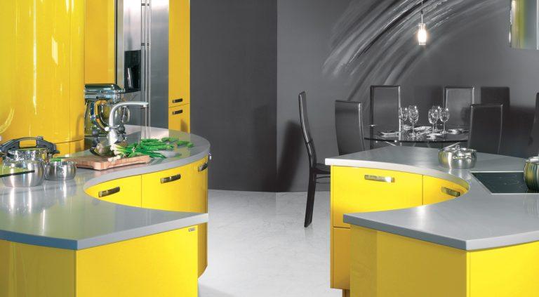 Modern sárga- szürke konyhabútor
